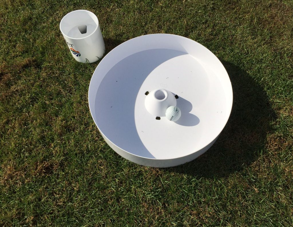 Compare 15-inch golf hole and 4.5 inch hole